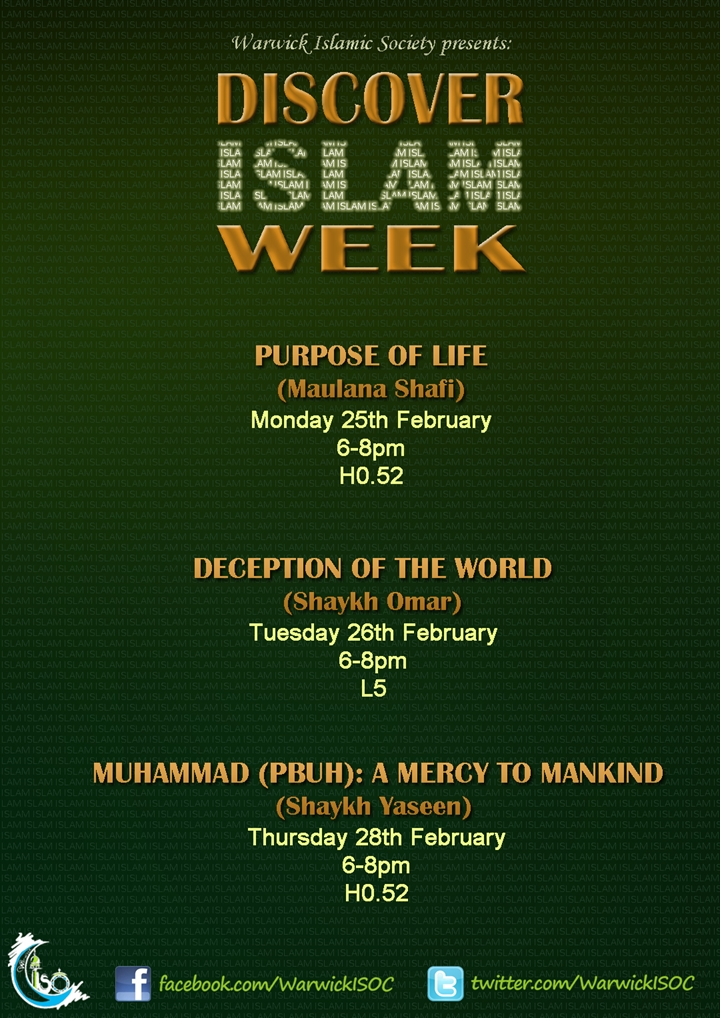 PURPOSE OF LIFE- Discover Islam Week 2013