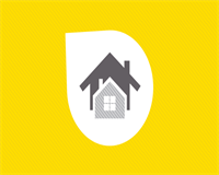 Yellow background with a picture of two houses.