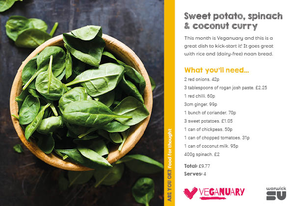 Sweet potato, spinach, and coconut curry
