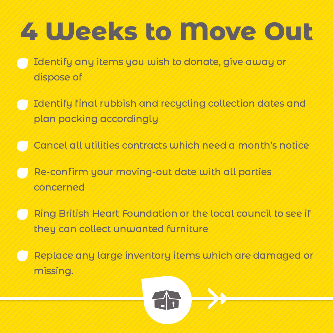 4 Weeks To Move Out checklist