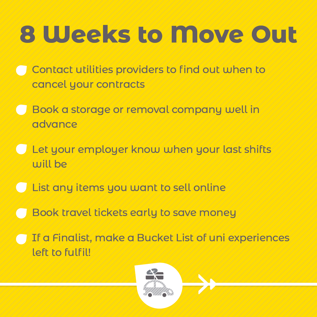 8 Weeks To Move Out checklist